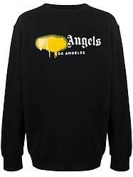 Свитшот чёрный Palm Angels yelloy spray • кофта Палм Анжелс