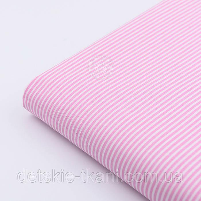 """Лоскут ткани с мелкой полоской """"Бамбук"""" розового цвета (№2271)"""