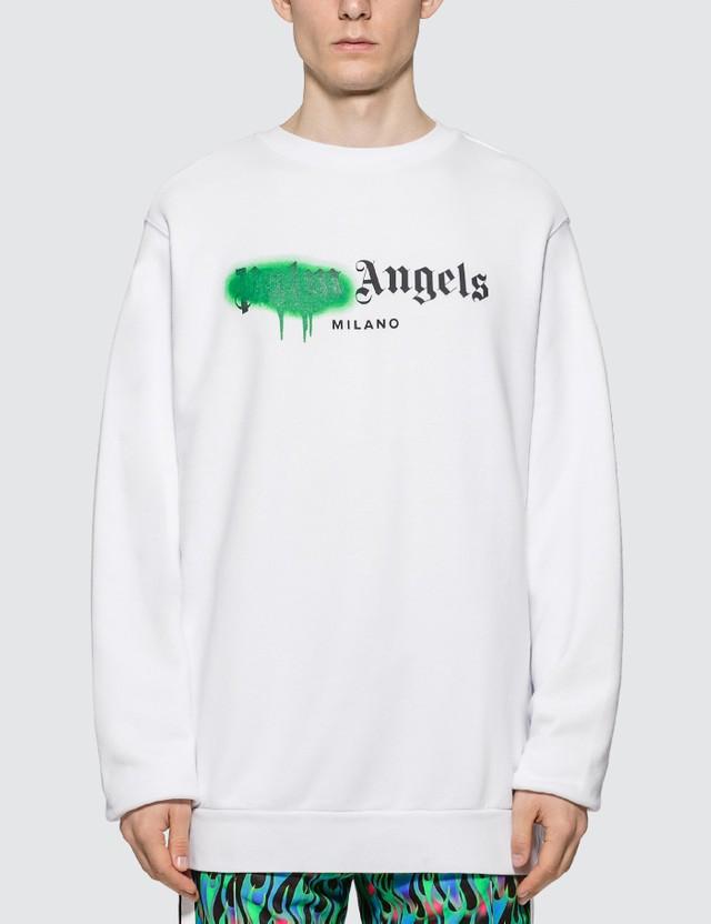 Свитшот белый Palm Angels green spray • кофта Палм Анжелс