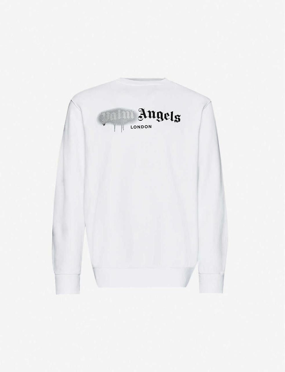 Свитшот белый Palm Angels grey spray • кофта Палм Анжелс