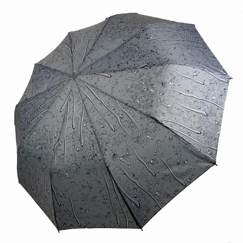 """Складной женский зонт полуавтомат """"Капли дождя"""" от SL, серый, 497SL-6"""