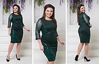 """Изысканное женское платье с декором из пайеток ткань """"Дайвинг с напылением"""" размер 48, 52, 54 батал"""