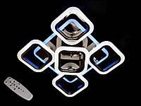 Светодиодная люстра с пультом-диммером и цветной подсветкой черный хром S8060-4+1, фото 1