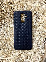 """Чехол """"Кожаное Плетение"""" для Samsung A6 Plus, Black"""