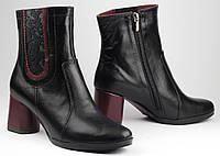 Ботинки женские демисезонные из натуральной кожи на удобном каблуке от производителя модель ФС2065