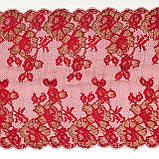 Ажурное французское кружево шантильи (с ресничками) красного цвета шириной 25 см, длина купона 1,4 м., фото 2