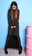 Длинная туника с разной длиной, ангора меланж (черная, бордо)(размер 40-42, 44-46) 44-46, черная