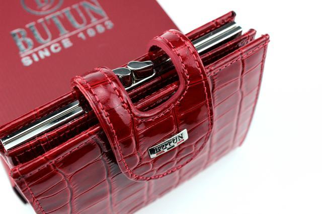"""Женский кошелек Butun 593-006-006 кожаный красный """"под рептилию"""""""