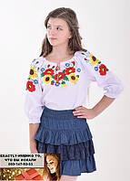 Детская блуза вышиванка для девочки 110-116, 122-128, 128-134, 134-140, 140-146, 146-152