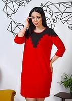 Женское платье украшено кружевом размеры 50,52,54
