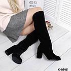 Зимние женские сапоги черного цвета, натуральная замша (в наличии и  под заказ 7-16 дней), фото 2