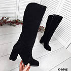 Зимние женские сапоги черного цвета, натуральная замша (в наличии и  под заказ 7-16 дней), фото 4