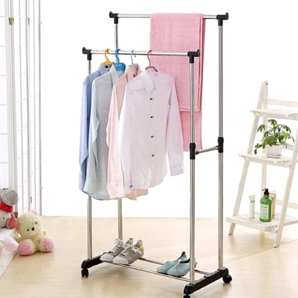 Телескопическая стойка-вешалка для одежды Double Pole Clothes Horse 339 LR