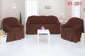 Чохол на диван і два крісла з оборкою, натяжна, жатка-креш, універсальний Concordia 01-200