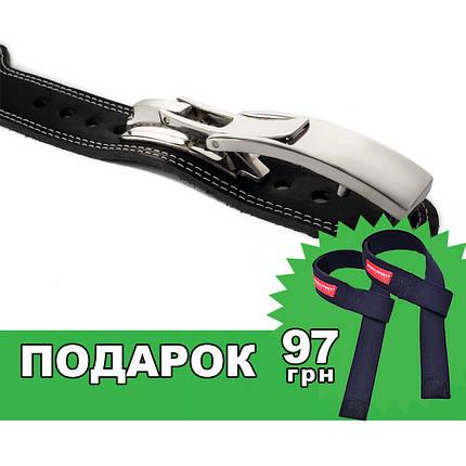 Пояс кожаный атлетический 60/100 мм, карабин, трехслойный, фото 2