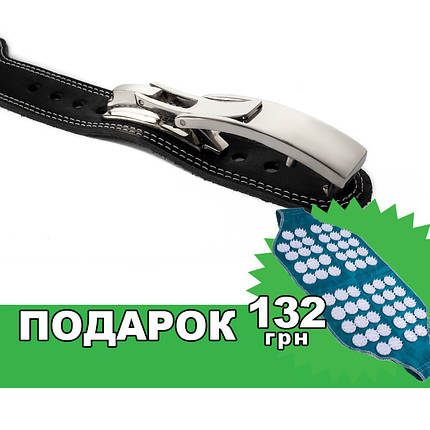 Пояс кожаный атлетический 60/120 мм, карабин, двухслойный, фото 2