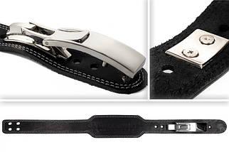 Пояс кожаный атлетический 60/150 мм, карабин, трехслойный, фото 2