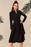 Длинное платье с пышной юбкой с поясом черное
