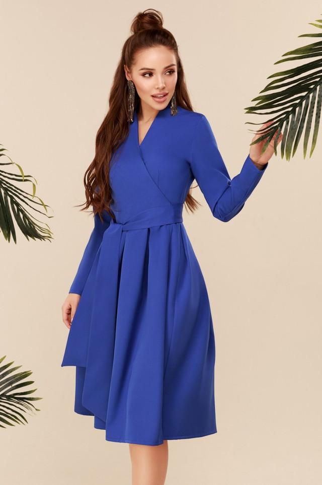 Довге плаття з пишною спідницею з поясом сині