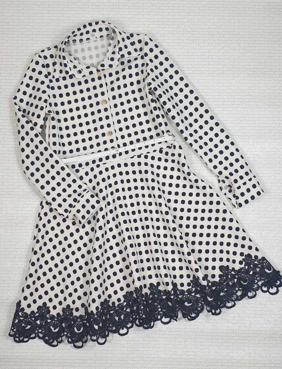 Платье для девочки рубашечного типа в горох р. 134-146 опт