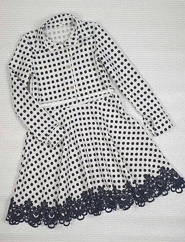 Платье для девочки рубашечного типа в горох р. 134-146 опт, фото 2
