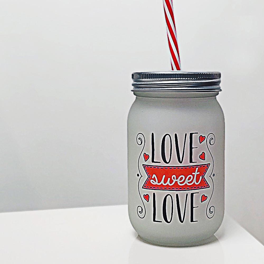 Банка c трубочкой Джар Love sweet love 450 мл (JA_20L023_KR)