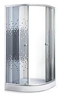Душевой угол Sansa S-90/15, профиль сатин, стекло серое-мозаик