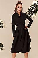 Довге плаття з пишною спідницею з поясом чорне, фото 1