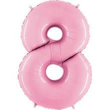 "Фольгована кулька цифра пастель Рожева ""8"" ""40""  УП Grabo"
