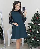 Платье свободного кроя с ажурными рукавами