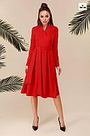 Сукня з поясом і пишною спідницею довге червоне, фото 1