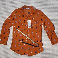 Рубашка для девочки в школу из хлопка 11-12 лет