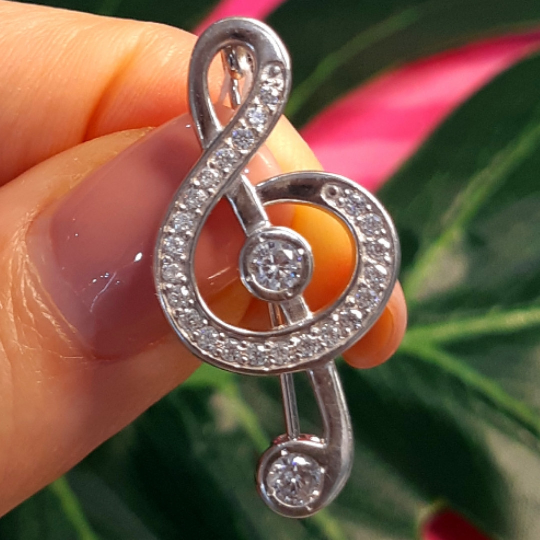 Скрипковий ключ срібна брошка - Брошка Ноти срібло - Срібна брошка Музика