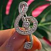 Скрипковий ключ срібна брошка - Брошка Ноти срібло - Срібна брошка Музика, фото 3