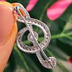 Скрипковий ключ срібна брошка - Брошка Ноти срібло - Срібна брошка Музика, фото 2
