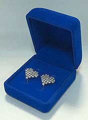 Футляр класичний для сережок, двох кілець оксамитовий синій 220