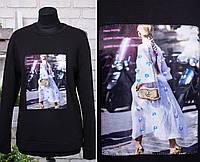 """Стильная женская кофта с нашитой аппликацией ткань """"Трикотажное полотно на флисе"""" 50 размер батал"""