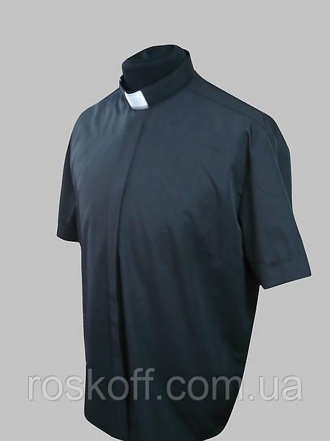 Сорочка для священників на короткий рукав чорного кольору