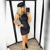 Кожаное черное мини платье