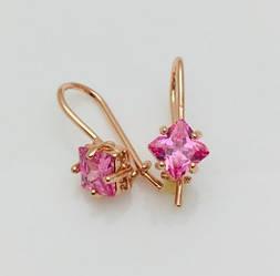 Серьги Fallon классика розовый камень позолота 18К
