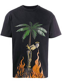 Футболка чёрная Palm Angels Burning Skeleton Tee• Палм Анджелс футболка