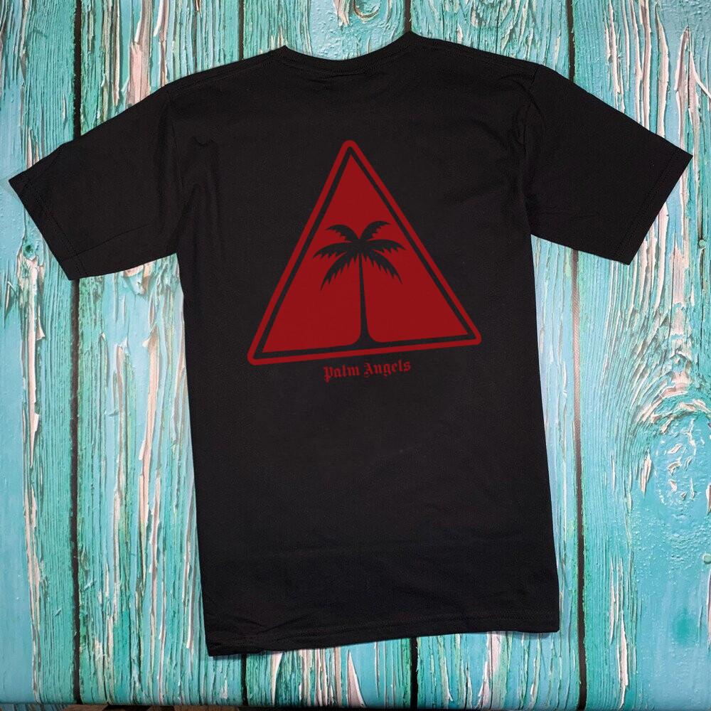 Футболка чёрная Palm Angels Red Tringle • Палм Анджелс футболка