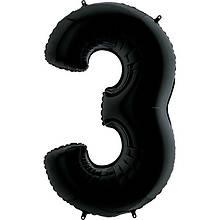 """Фольгована кулька цифра пастель Чорна """"3"""" """"40""""  УП black"""
