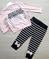 "Детский костюм на завязках для девочки в полоску ""Dynamic""3-6лет, розового цвета"
