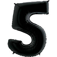 """Фольгована кулька цифра пастель Чорна """"5"""" """"40""""  УП black"""