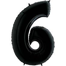 """Фольгована кулька цифра пастель Чорна """"6"""" """"40""""  УП black"""