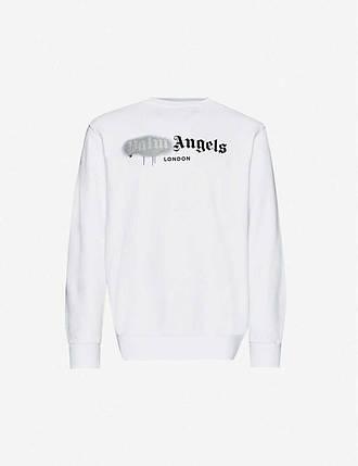 Свитшот белый Palm Angels grey spray • кофта Палм Анжелс, фото 2