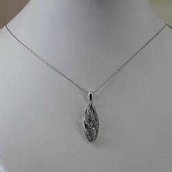 Золотое колье цепочка и кулон с бриллиантами