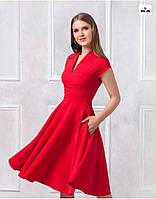 Платье с пышной юбкой красное