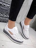Женские кожаные туфли белые  на шнурках  Lilo